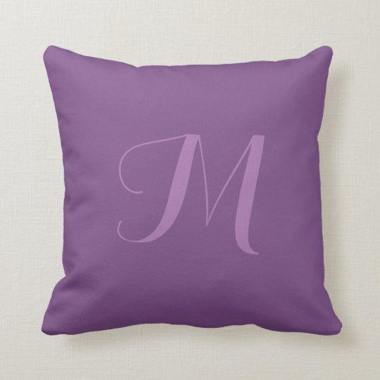 Purple Solid Colour Monogram Personalize Pillow