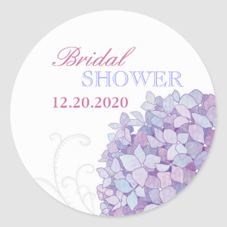 Purple Southern Hydrangeas Bridal Shower Classic Round Sticker