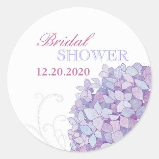Purple Southern Hydrangeas Bridal Shower Round Sticker