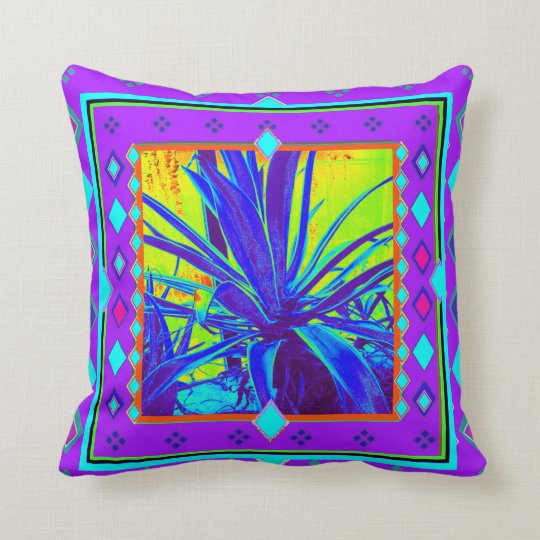 Purple Southwest Agave Cacti by Sharles Throw Pillow