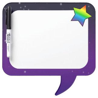 Purple Space Rainbow Star Dry-Erase Whiteboard