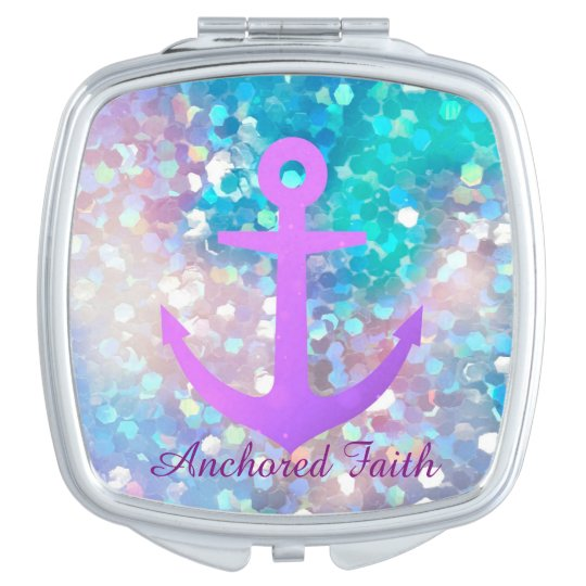 Purple Sparkle Anchored Faith Compact Mirror