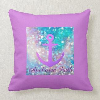 Purple Sparkle Anchored Faith Throw Pillow