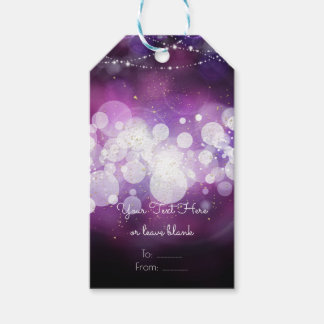 Purple Sparkle Lights Glam Birthday Party Favor Gift Tags