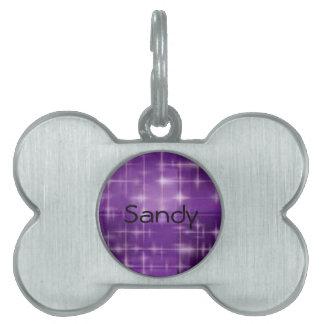 Purple Sparkle Pet Name Tag