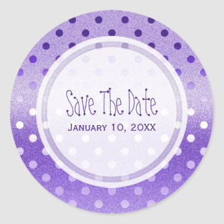 Purple Sparkle: Polka-dots: Save The Date Stickers