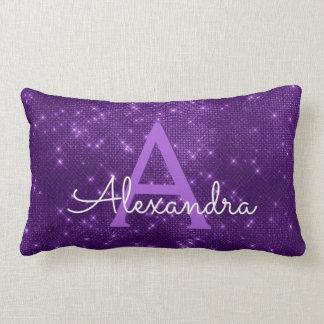 Purple Sparkle Shimmer Monogram Name & Initial Lumbar Pillow