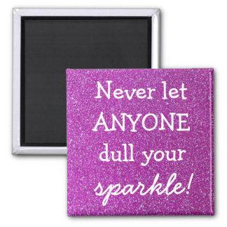 Purple Sparkle Square Magnet