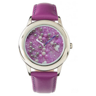 Purple Sparkles and Love Hearts Watch