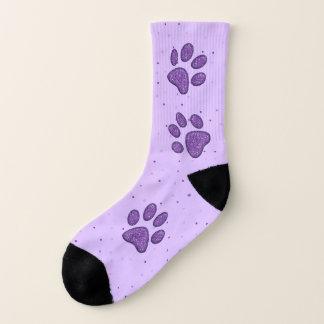 purple sparkling cat paw pring - socks