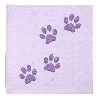 purple sparkling cat paw print - duvet cover