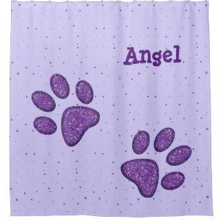 purple sparkling cat paw print - shower curtain