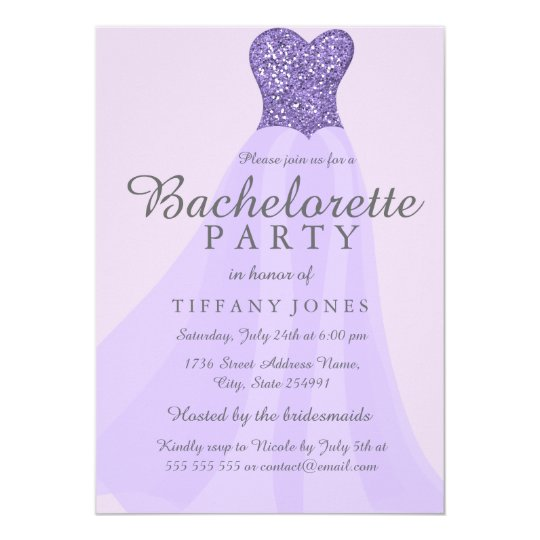 Purple Sparkling Glitter Dress Bachelorette Invite