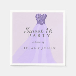 Purple Sparkling Glitter Gown Sweet 16 Party Paper Napkin
