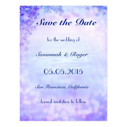 Purple Sparkling Lights Save the Date Postcard