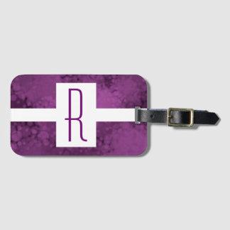 Purple Speckled Monogram Luggage Tag