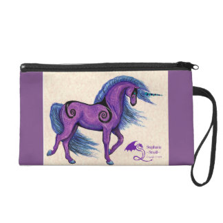 Purple Spiral Unicorn Wristlet