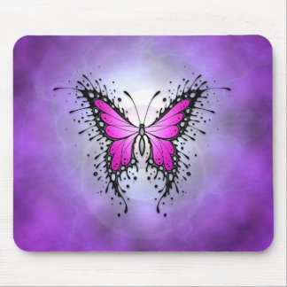 Purple Splatter Butterfly Mouse Pad