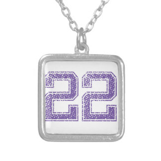 Purple Sports Jerzee Number 22.png Silver Plated Necklace