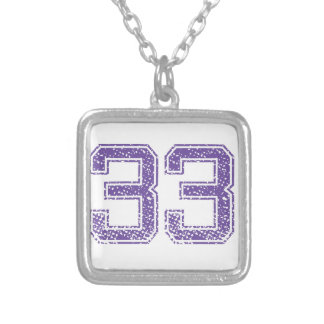 Purple Sports Jerzee Number 33.png Silver Plated Necklace