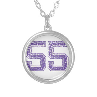 Purple Sports Jerzee Number 55.png Silver Plated Necklace