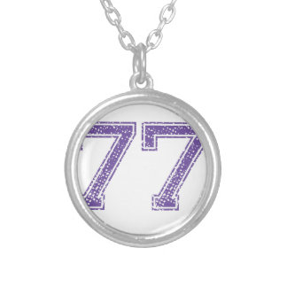 Purple Sports Jerzee Number 77.png Silver Plated Necklace