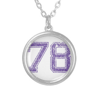 Purple Sports Jerzee Number 78.png Silver Plated Necklace