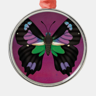 Purple Spotted Swallowtail Metal Ornament