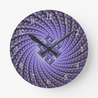 Purple Spral Fractal Celtic Diamond Round Clock