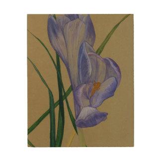 Purple Spring Crocus Flower Wood Print