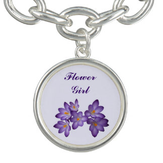 Purple Spring Floral Wedding Flower Girl Charm Bracelet