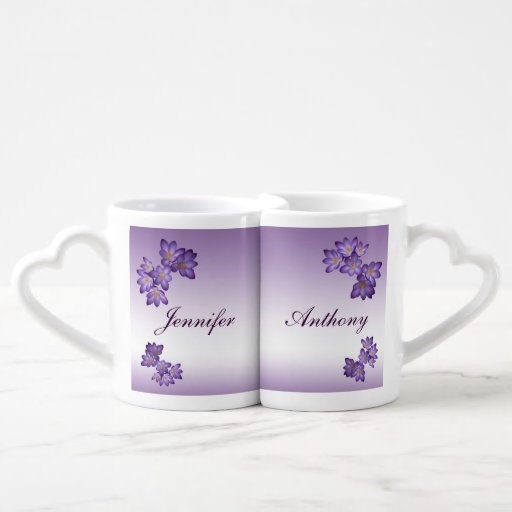 Purple Spring Floral Wedding Lovers Mugs