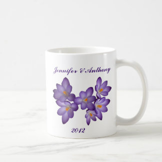 Purple Spring Floral Wedding Mug