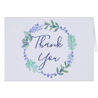Purple Spring Floral Wreath Thank You Card