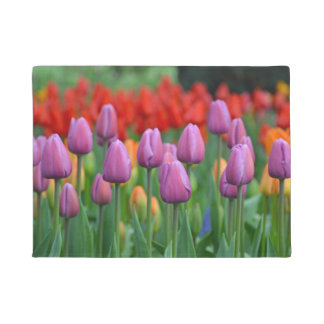 Purple spring tulips doormat