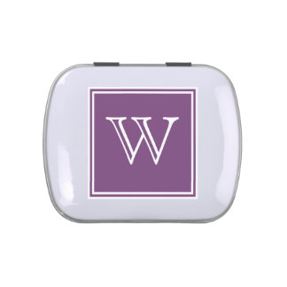 Purple Square Monogram Candy Tin