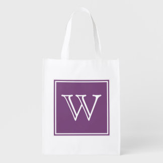 Purple Square Monogram Reusable Grocery Bag