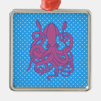 Purple Squid & Polka Dots Metal Ornament