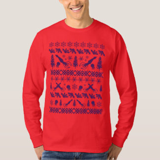 "Purple Squid ""Ugly Christmas Sweater"" Design T-Shirt"