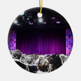 Purple stage solarized theater design round ceramic ornament
