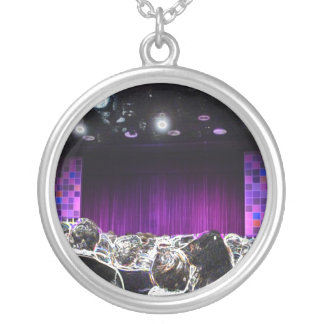 Purple stage solarized theater design silver plated necklace