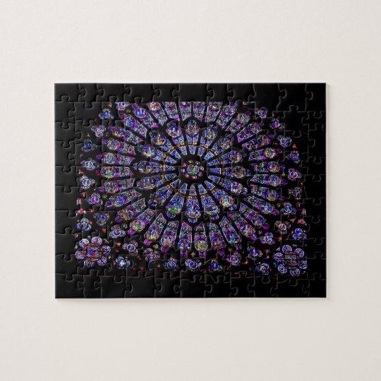 Purple Stained Glass Church Window Jigsaw Puzzle