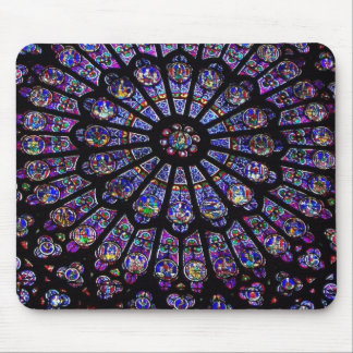 Purple Stained Glass Church Window Mouse Pad