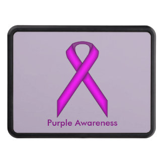 Purple Standard Ribbon by Kenneth Yoncich Trailer Hitch Cover