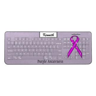 Purple Standard Ribbon by Kenneth Yoncich Wireless Keyboard