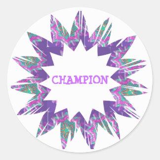 PURPLE Star:  CHAMPION Script Round Sticker