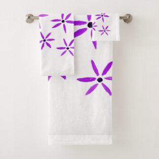 Purple Star Flower design Bath Towel Set