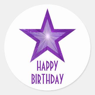 Purple Star 'Happy Birthday' round sticker white