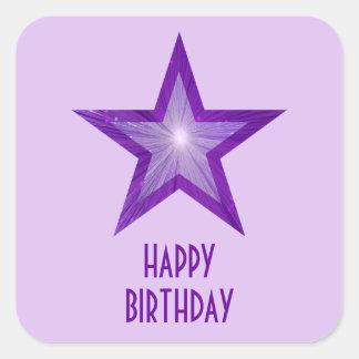 Purple Star 'Happy Birthday' square pale purple Square Stickers