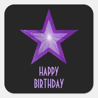 Purple Star 'Happy Birthday' square sticker black